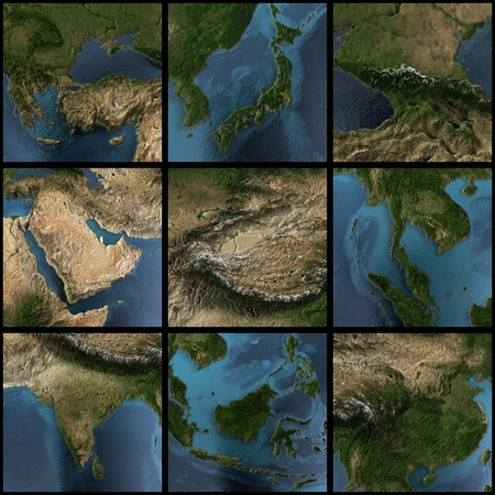 Asia map set. 3d landscape, shadows, transparent water. Earth map courtesy NASA photo