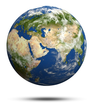 Planet Earth 3d render. Earth globe model, maps courtesy of NASA photo