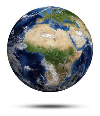 courtoisie: Plan�te Terre. Globe terrestre 3D render, cartes de courtoisie de la NASA Banque d'images