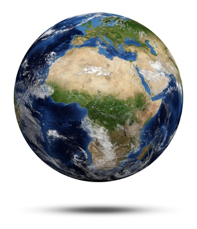 Planet Earth. Earth globe 3d render, maps courtesy of NASA photo