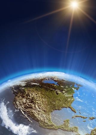 mexiko karte: USA aus dem All