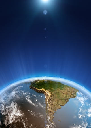 South America space view  Elements of this image furnished by NASA photo