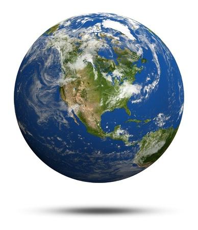 weather map: America  Earth globe model