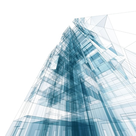 house facades: Abstract building  Architecture design and model my own Stock Photo