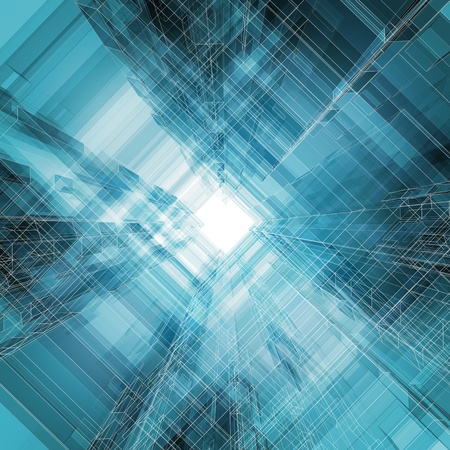 azul turqueza: Abstracto arquitectura background 3d render Foto de archivo