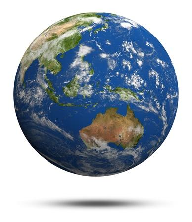 Australia and oceania. Earth globe model, maps courtesy of NASA photo