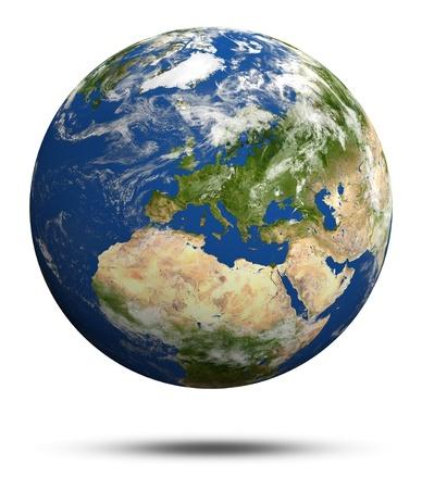 Planet Earth 3d render. Earth globe model, maps courtesy of NASA
