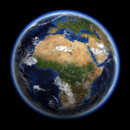 atmosphere: Earth 3d render. Earth space model, maps courtesy of NASA