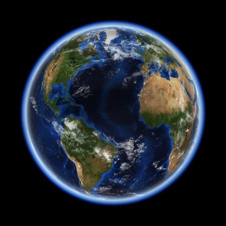 大西洋の地球空間モデル、NASA の礼儀マップ 写真素材