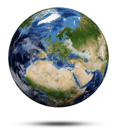 Planet Earth  Earth globe 3d render, maps courtesy of NASA photo