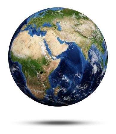 topografia: Planet Earth Earth globo 3d, mapas cortes�a de la NASA Foto de archivo