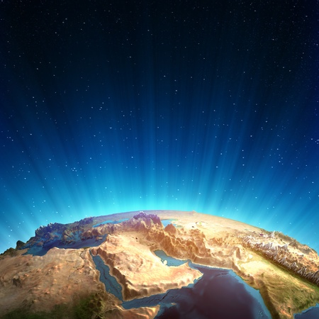 Middle east real relief  Elements of this image furnished by NASA photo