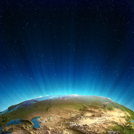 globe asia: Russia real relief  Elements of this image furnished by NASA