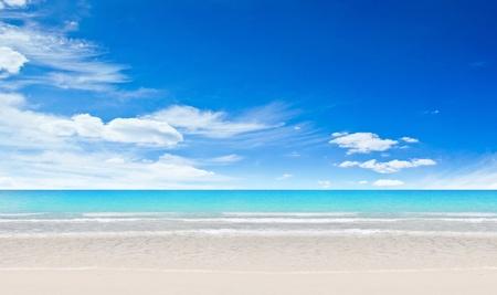 panoramic beach: Tropical beach and ocean. Day shot Stock Photo