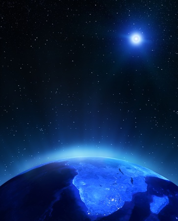 Africa under moon. Elements of this image furnished by NASA Stock Photo - 15307145