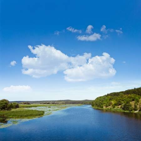reservoir: River landscape and clear beautiful sky