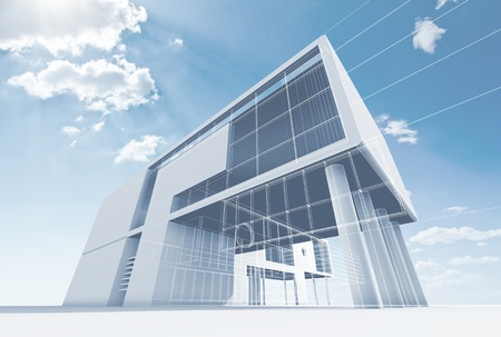 Office architecture  High quality 3d render Stock Photo