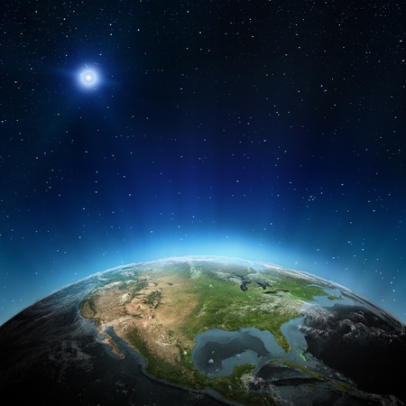 glowing earth: North America. Elements of this image furnished by NASA Stock Photo