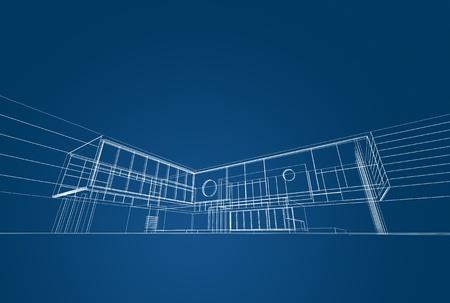 Architecture blueprint on blue background Stock Photo - 15960711