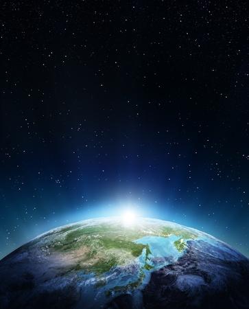 日本とシベリア NASA から提供されたこのイメージの要素 写真素材