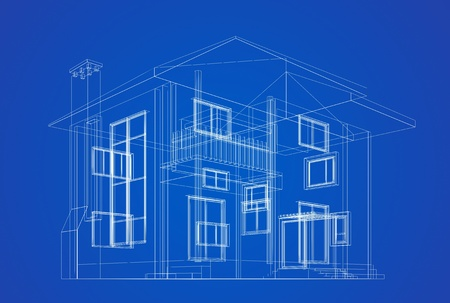 Architecture blueprint on blue background photo
