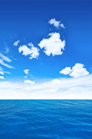 vertical composition: Cloudy sky and sea  Tropical vertical composition Stock Photo