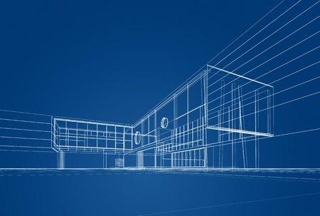 new buildings: Architecture blueprint on blue background
