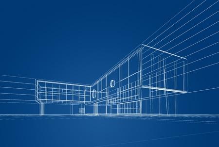 Architektur Blaupause auf blauem Hintergrund