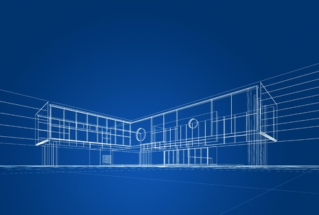Architecture blueprint on blue background Stock Photo - 16195725