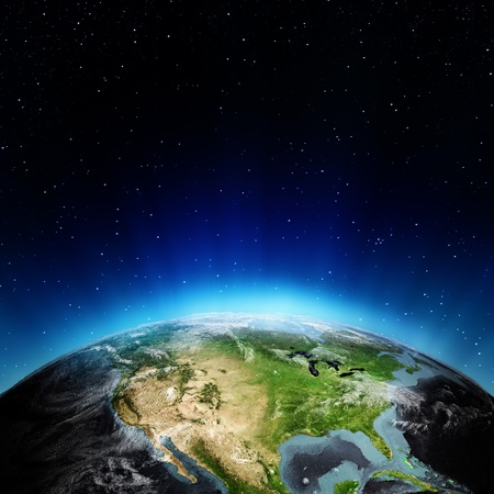 world globe map: USA from space. Elements of this image furnished by NASA
