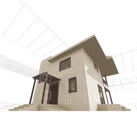 house render: House construction. High quality 3d render