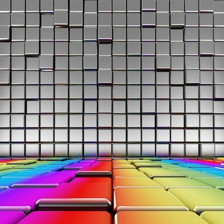 heights: Rainbow floor interior. High quality 3d render