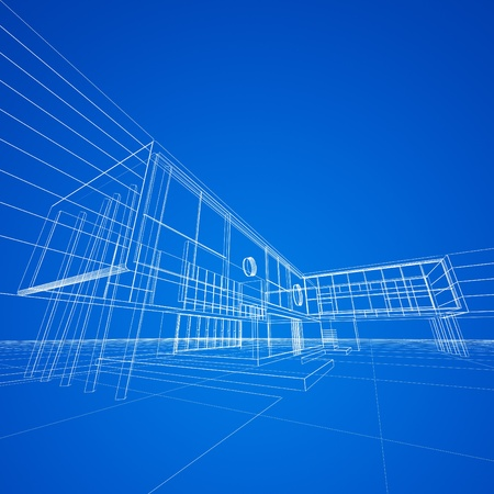 functionalism: Blueprint on blue. My design and 3d model Stock Photo