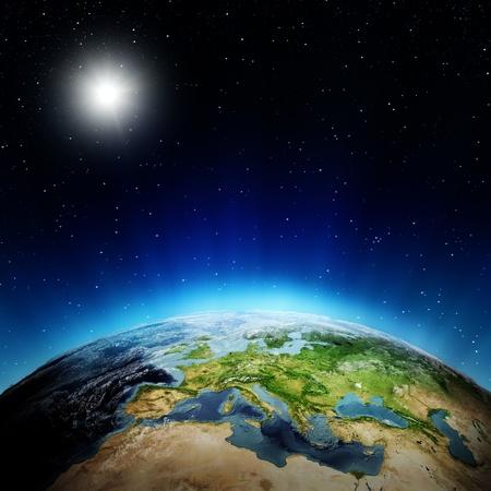 mapa europa: Europa amanecer elementos de esta imagen proporcionada por la NASA Foto de archivo