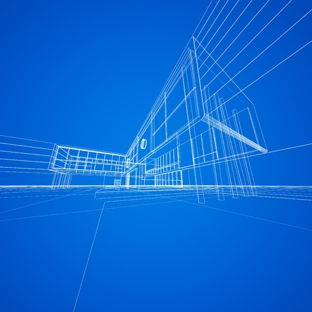 functionalism: Concept blueprint on blue  My design and 3d model Stock Photo