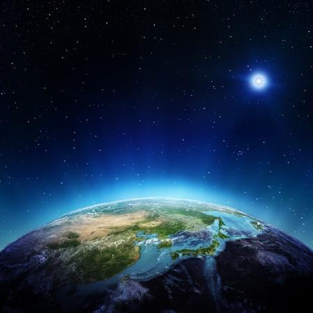 Japonsko a Čína z prostorových prvků tohoto snímku zařízený NASA