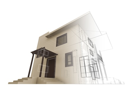 house facades: House construction  High quality 3d render