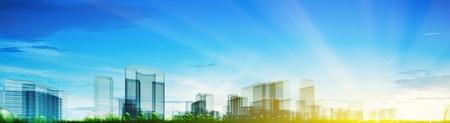 Panoramablick auf die Stadt Konzept. Abstract 3d Collage Lizenzfreie Bilder