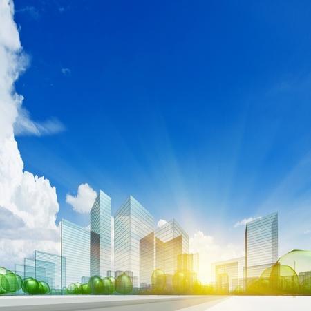 Město koncept. Abstract 3d koláž Reklamní fotografie