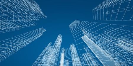 City concept. 3d render image photo