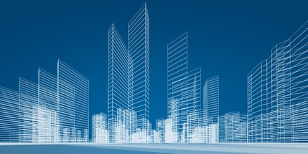 building blueprint: City project. 3d render image Stock Photo