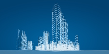 Abstract wire city. 3d render image photo