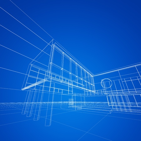 modern house exterior: Construction blueprint on blue. My design and 3d model