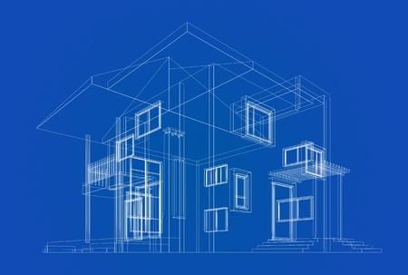 Cottage construction blueprint  High quality 3d render photo