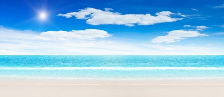 Tropical beach and ocean. Panoramic shot Stock Photo