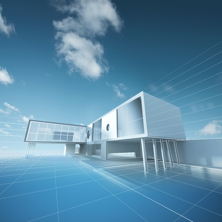 Concept house drawing  Building design and 3d model my own Stock Photo