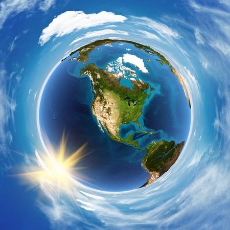 atmosfera: Am�rica del paisaje desde el espacio Foto de archivo