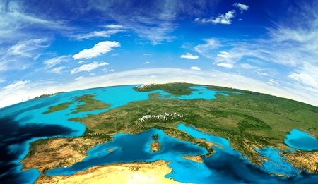 geography of europe: Europe landscape from space. Elements of this image furnished by NASA