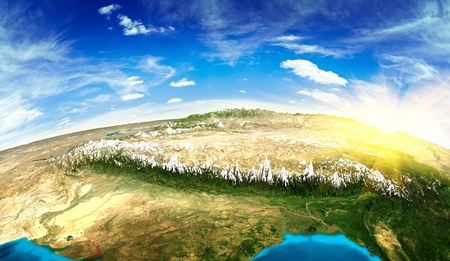 pakistan: Tibet landscape from space.