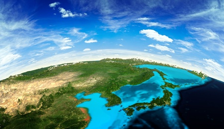 china map: Japan and Korea landscape from space.  Stock Photo